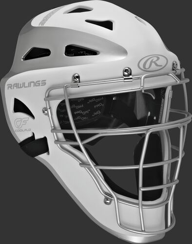 Front right of a white/silver CHVEL Rawlings Velo adult catcher's helmet
