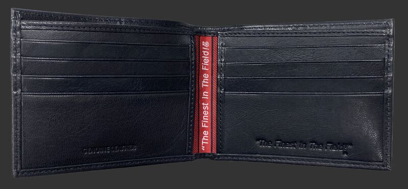 Inside of a black Rawlings debossed stich bi-fold wallet with multiple credit card slots - SKU: RPW007-001