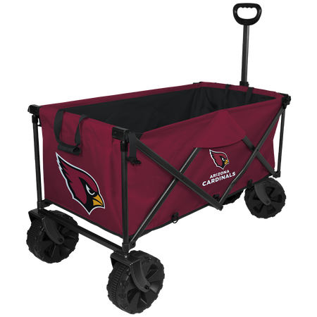 NFL Arizona Cardinals wagon in team colors with logos, sturdy wheels and a pull handle