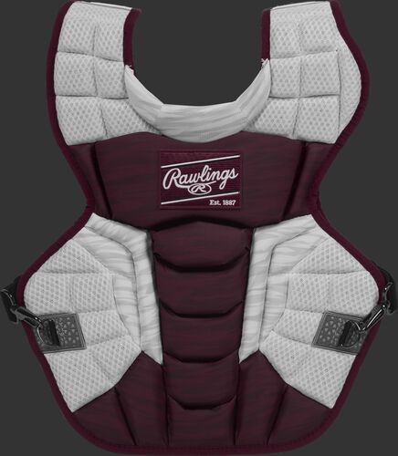 A maroon/white CPV2N Rawlings Velo 2.0 adult chest protector with a striped pattern
