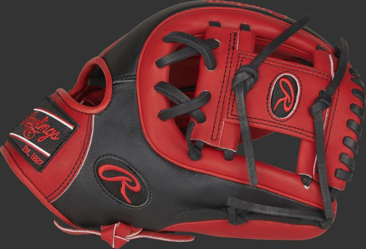 Thumb of a scarlet/black PRO315-2SSS Heart of the Hide 11.75-Inch Speed Shell infield glove with a scarlet I web