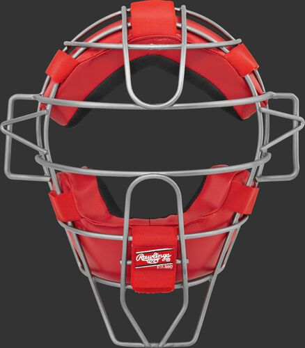 A LWMX2 adult lightweight hollow wire catcher/umpire mask with scarlet padding and silver cage