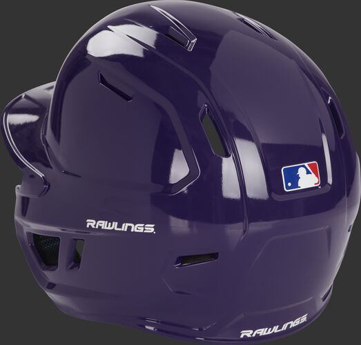 Back left of a purple MCH01A Rawlings high school Mach helmet with optimized air ventilation