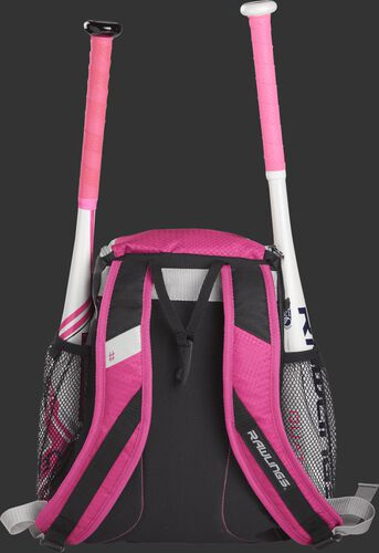 Back of a pink R400 Rawlings youth equipment backpack with pink shoulder straps and two bats