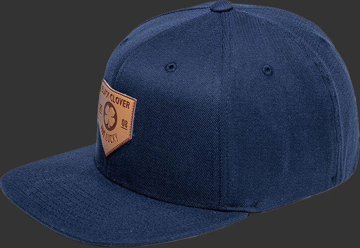 Side of a navy Rawlings Black Clover Leather Patch flat bill hat - SKU: BCR1LPFN0071