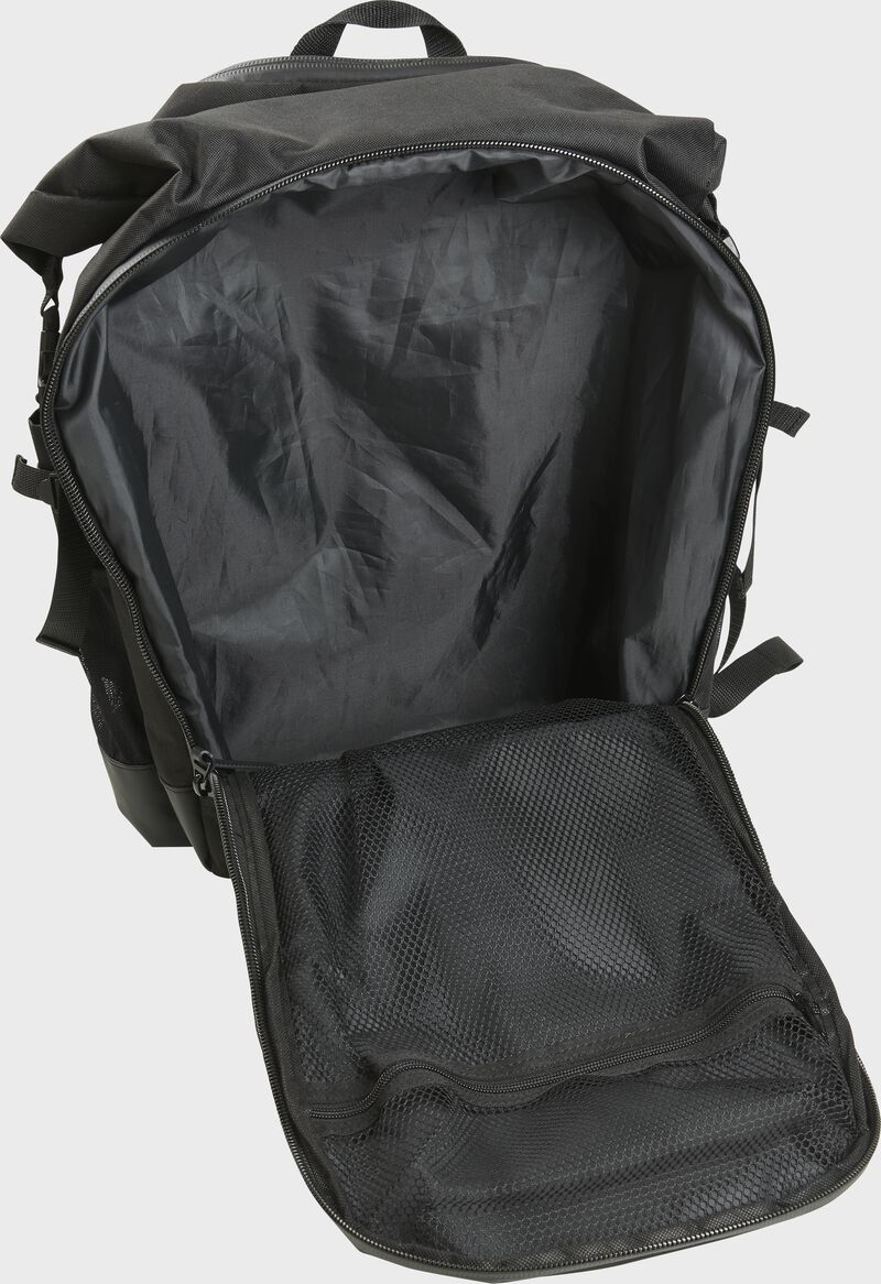 A black Rawlings CEO coach's backpack with the main compartment open - SKU: CEOBP-B