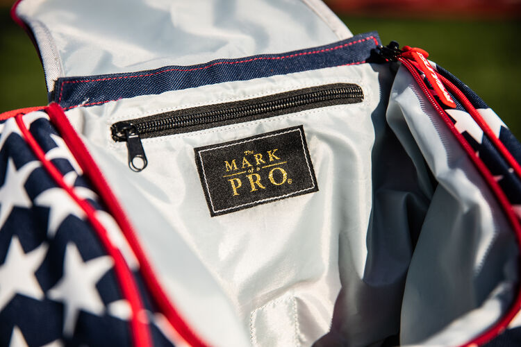 The Mark of a Pro patch sewn on the inside of a Rawlings USA Legion gear backpack - SKU: LEGION-USA