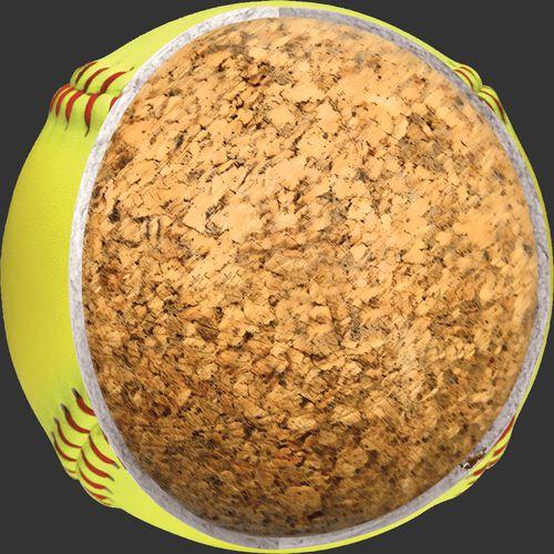 """Inside cork view of a USA 12"""" Dream Seam softball - SKU: C12RYSA"""