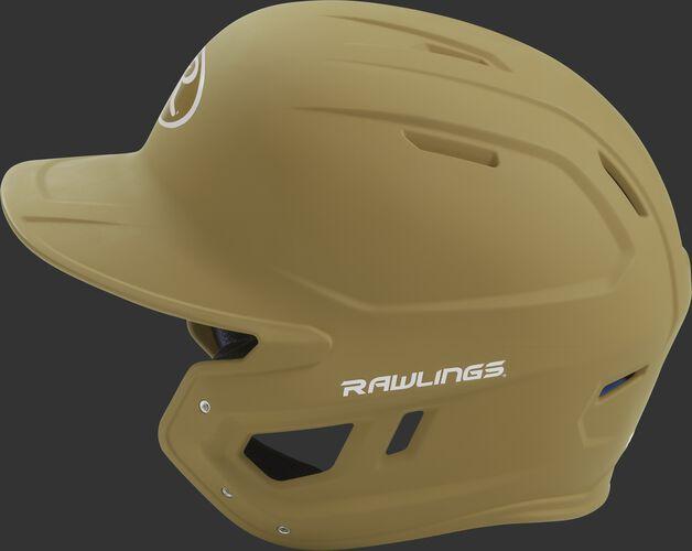 MACH Rawlings batting helmet with a one-tone matte Vegas gold shell