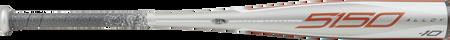 Barrel of a grey UTZ510 2020 5150 USSSA bat with orange and grey accents