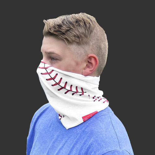 A kid wearing a white baseball stitch neck gaiter with it covering his mouth and nose - SKU: YRC40001-100