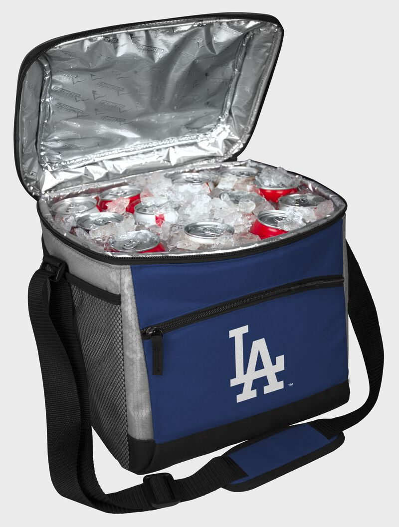 An open Los Angeles Dodgers 24 can cooler with ice and drinks