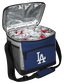 An open Los Angeles Dodgers 24 can cooler with ice and drinks image number null