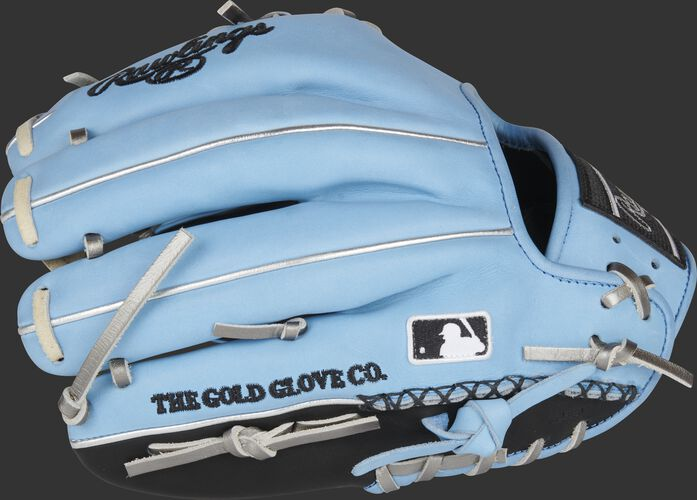 Back of a Columbia blue/black Heart of the Hide ColorSync 5.0 infield glove with HSW and MLB logo on the pinky - SKU: PRO204-2BCB