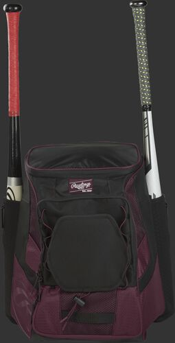 Front of a maroon/black R600 Rawlings players team backpack with a bat in each of the side compartments