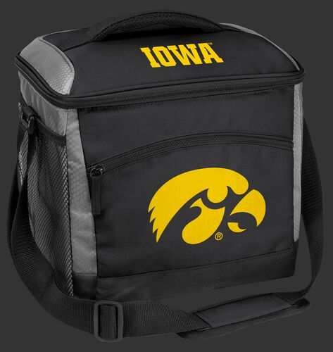 A black Iowa Hawkeyes 24 can soft sided cooler with screen printed team logos - SKU: 10223075111