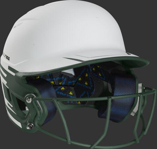 Front right of a Rawlings Mach fastpitch batting helmet with a dark green mask - SKU: MSB13S-W/DG