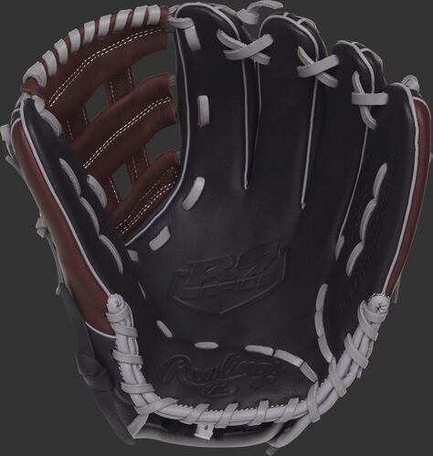 R9315-6BSG 11.75-inch Rawlings R9 baseball glove with a black palm and grey laces