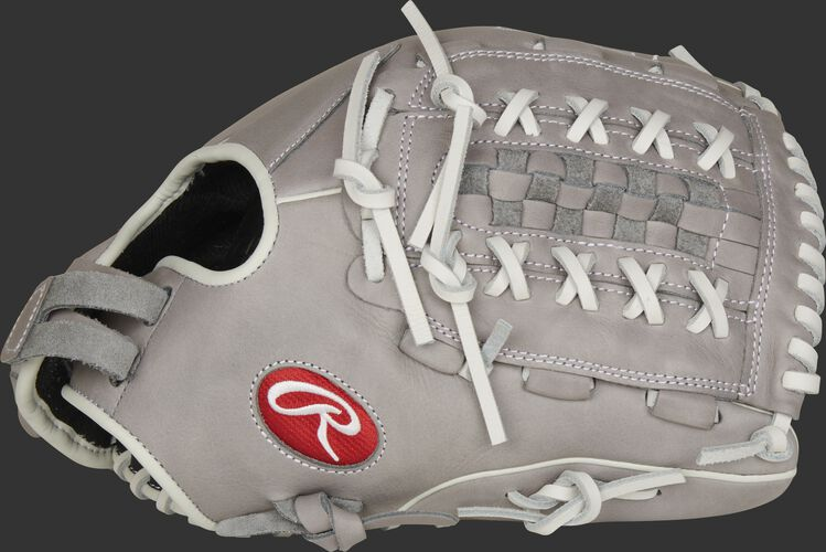 Thumb of a gray 2021 R9 Series 12.5-inch fastpitch infield/outfield glove with a gray Double Laced Basket web - SKU: R9SB125-18G