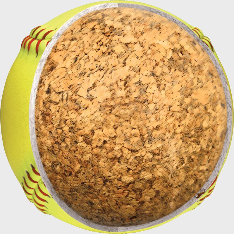 "Cutaway view of the center cork of an 11"" USA NFHS softball - SKU: C11RYLA"