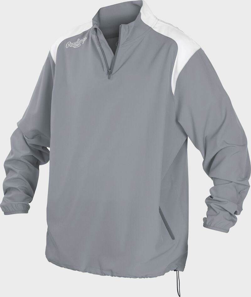 Front of Rawlings Gray Adult Long Sleeve Quarter-Zip Jacket - SKU #FORCEJ-B-88