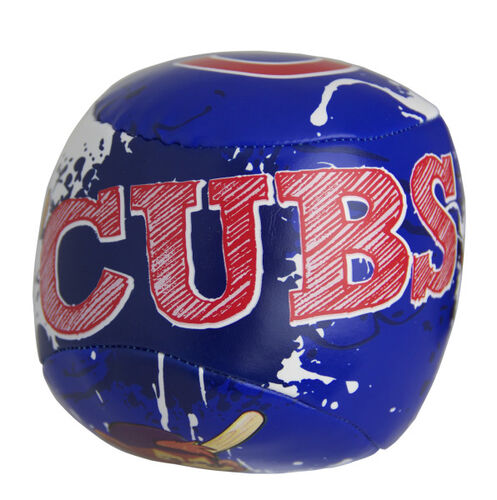 Top of Rawlings Chicago Cubs Quick Toss 4'' Softee Baseball With Team Name On Front In Team Colors SKU #01320008113