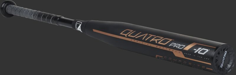 3/4 view of a FPQP10 fastpitch Quatro Pro bat with a black barrel and black end cap
