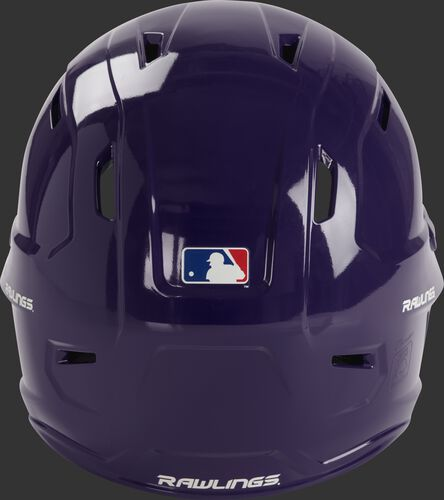 Back of a purple MCH01A Rawlings Mach batting helmet with a MLB logo sticker