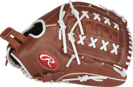 Thumb view of a brown R9SB125-18DB R9 Series fastpitch pitcher/outfield glove with a brown Double-Laced Basket web