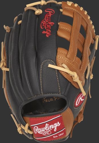 P120GBH youth Prodigy 12-inch outfield glove with a black back and golden brown trim