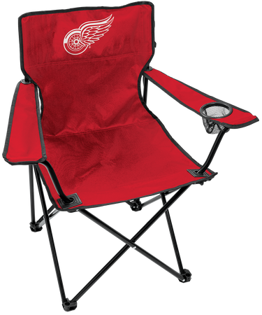 NHL Detroit Red Wings tailgating Gameday Elite quad chair with a mesh cup holder and team logo printed on the back