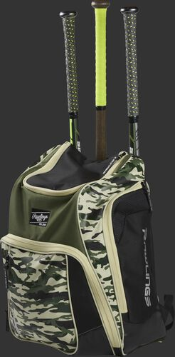 Angle view of a camo Legion baseball bat backpack with 3 bats in the back - SKU: LEGION-CAMO