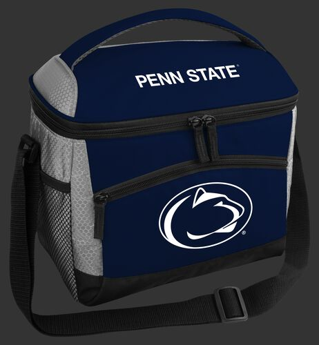 A blue Penn State Nittany Lions 12 can soft sided cooler with a team logo on the front - SKU: 10123050111