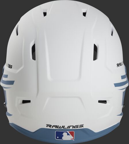 Back of a white/columbia blue Rawlings Mach fastpitch helmet with the MLB logo on the bottom - SKU: MSB13S-W/CB
