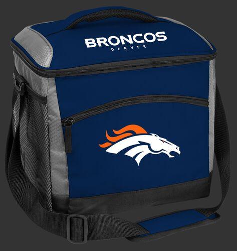 A blue Denver Broncos 24 can soft sided cooler with screen printed team logos - SKU: 10211066111