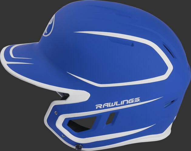 MACH Junior Rawlings batting helmet with a two-tone matte royal/white shell