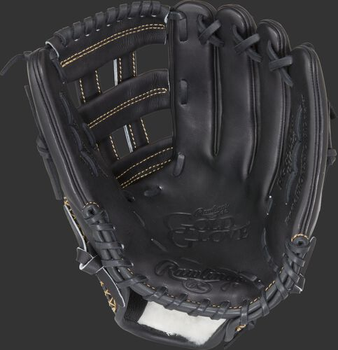 RGG303-6B Rawlings Gold Glove Series glove with a black palm, black web and black laces