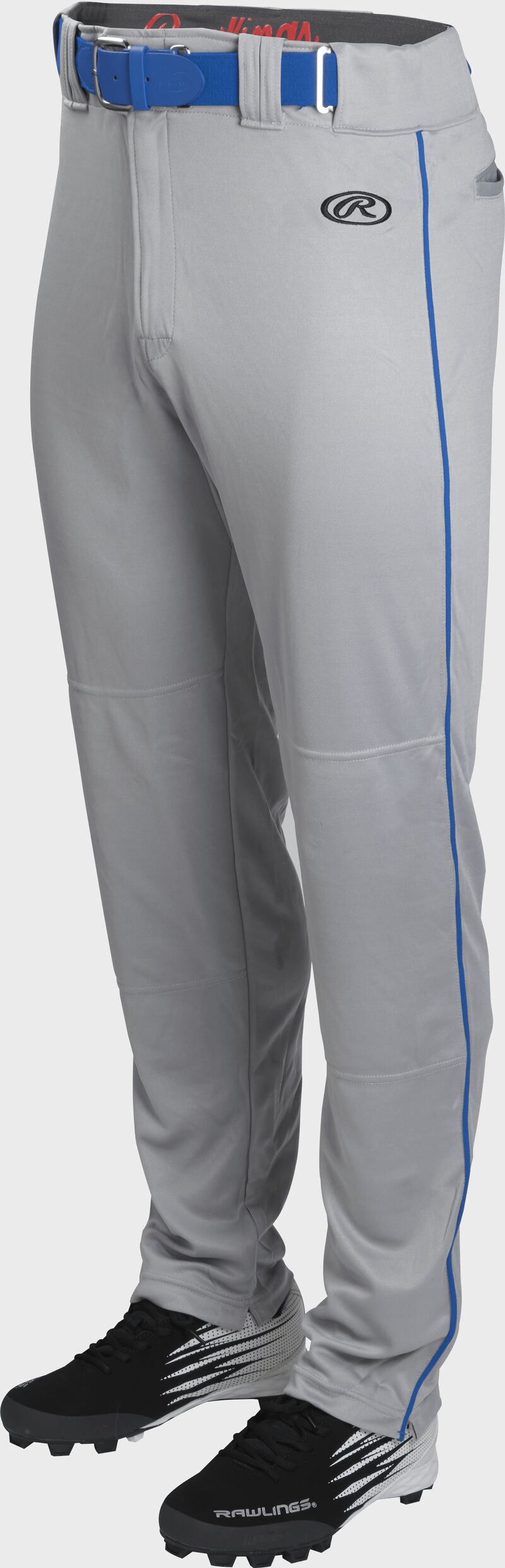 Front of Rawlings Blue Gray/Royal Adult Launch Piped Semi-Relaxed Baseball Pant - SKU #LNCHSRP-BG/R