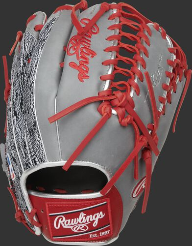 Back of a gray Heart of the Hide R2G Trap-Eze web outfield glove with a red Rawlings patch - SKU: PROR3039-22SGZ