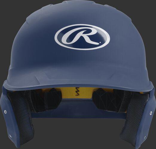 Front of a matte navy MACH junior size batting helmet