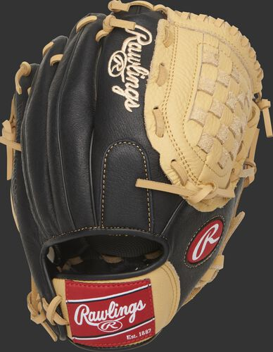 Back of a black P110CBB Prodigy 11-inch basket web youth glove