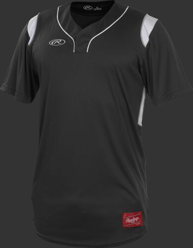 A black Rawlings short sleeve hidden button jersey with white shoulder inserts - SKU: HBJ-B