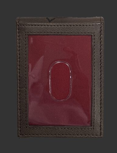 Back of a brown Rawlings debossed stitch front pocket wallet with a clear ID window - SKU: RPW009-200