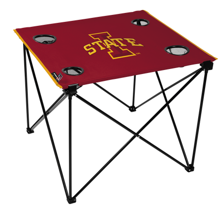 A red NCAA Iowa State Cyclones deluxe tailgate table with four cup holders and team logo printed in the middle