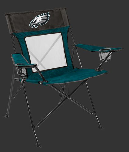 Front of Rawlings Green and Black NFL Philadelphia Eagles Game Changer Chair With Team Logo SKU #00651080111