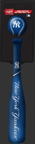 Rawlings New York Yankees Softee Mini Bat and Ball Set in Team Colors With Team Name and Logo On Front SKU #01160030114