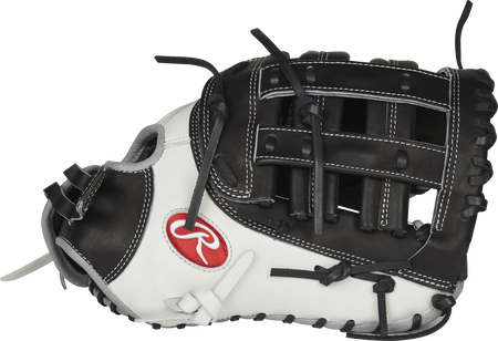 Thumb view of a PROFM19SB-17BW Heart of the Hide 13-inch softball first base mitt with a white thumb and black Modified H web