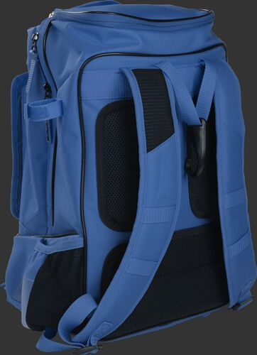 Left back view of a royal R701 training bag with royal shoulder straps and black padding