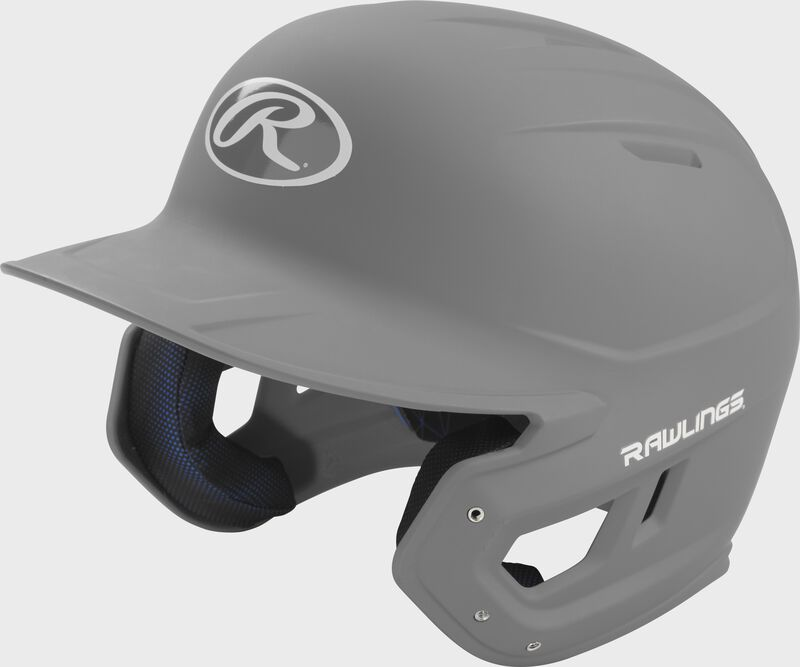 Left angle view of a Rawlings MACH helmet with a one-tone matte silver shell