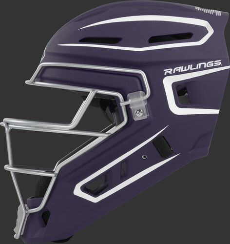 Left side of a purple CHV27J Rawlings hockey style Velo 2.0 catcher's helmet